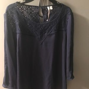 Lauren Conrad Navy Lace Blouse-XL
